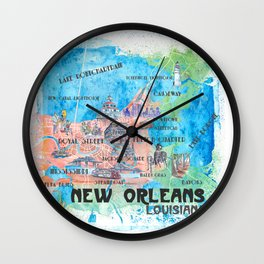 New Orleans Louisiana Illustrated Map with Main Roads Landmarks and Highlights Wall Clock