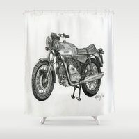 motorbike Shower Curtains featuring Stippled Motorbike  by Rachael Kotvojs