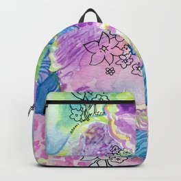 Purple Abstract Floral Backpack