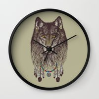 wind Wall Clocks featuring Wind Catcher Wolf by Rachel Caldwell