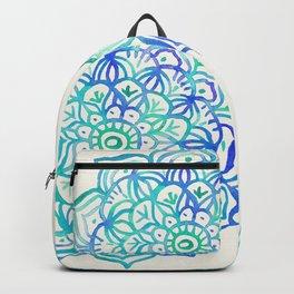 Watercolor Medallion in Ocean Colors Backpack