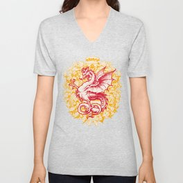 Noble House GINGER FIRE / Grungy heraldry design Unisex V-Neck