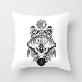 Bohemian Celestial Wolf Throw Pillow