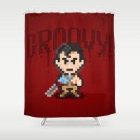 evil dead Shower Curtains featuring Evil Dead Pixels by Jango Snow