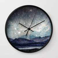 northern lights Wall Clocks featuring Northern lights by LisaB