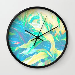 Tropical Croton Leaves 3 Wall Clock