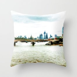Red Buses and Blue Buildings Throw Pillow