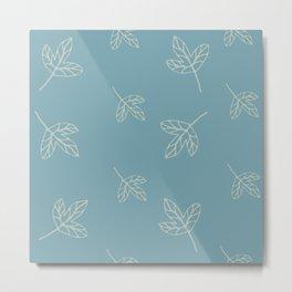 Blue cozy leaves for nice decor Metal Print