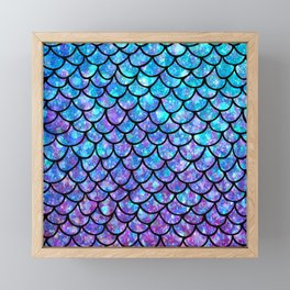 Purples & Blues Mermaid scales Framed Mini Art Print