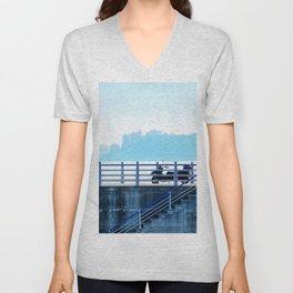 Faded blue landscape Unisex V-Neck