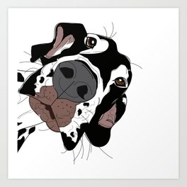 Great Dane In Your Face (harlequin) Art Print