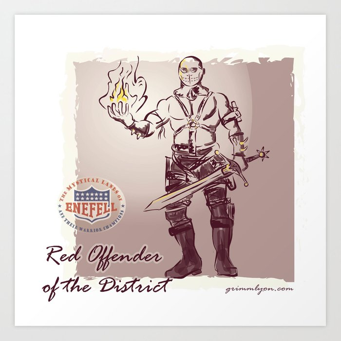 Red Offender of the District Art Print