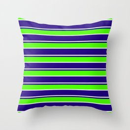 Nautical Stripes, Navy, Chartruce and White Throw Pillow
