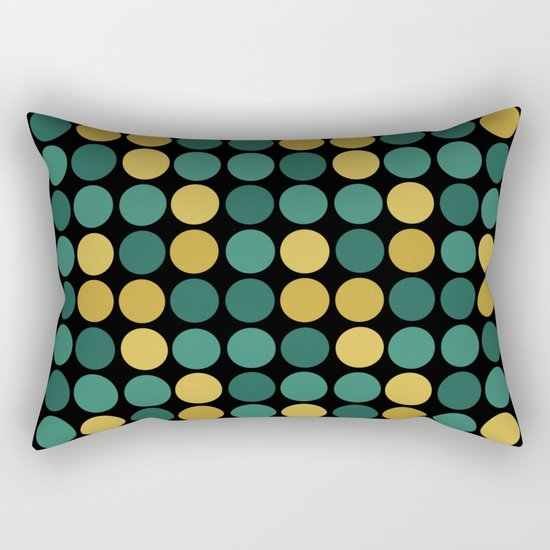 Yellow green polka dots on a black background . Rectangular Pillow