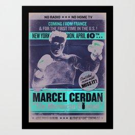 VINTAGE  BOXING  POSTER / MARCEL CERDAN / Art Print