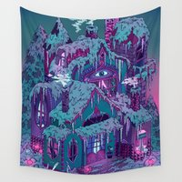 house Wall Tapestries featuring December House by Valeriya Volkova