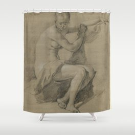 Sitting Female figure Shower Curtain