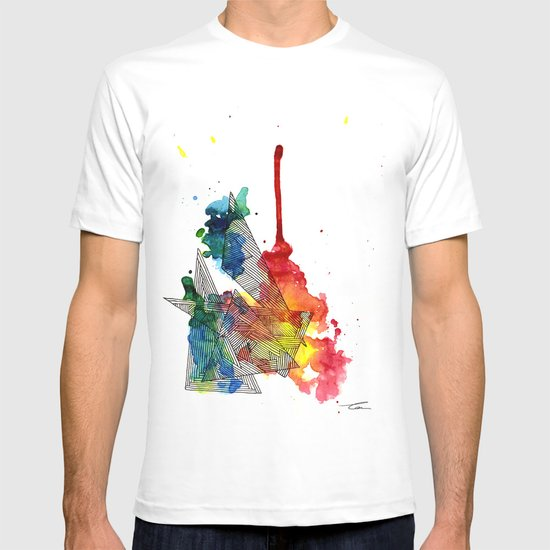 Watercolor and Fine Liner Triangles T-shirt