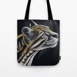 Ocelot Colored Pencil Art On Black Tote Bag