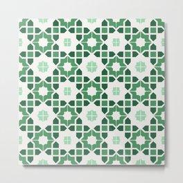 Morrocan tiles in green Metal Print