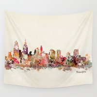philadelphia Wall Tapestries featuring philadelphia pennsylvania skyline by bri.buckley