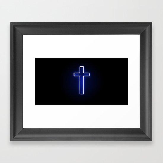 Metallic Cross Framed Art Print