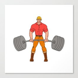 Buffed Lumberjack Lifting Weights Cartoon Canvas Print