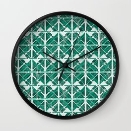 Abstract Tropical Tiles in Green Wall Clock