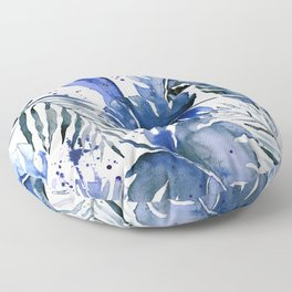 Tropical plants in indigo blue Floor Pillow