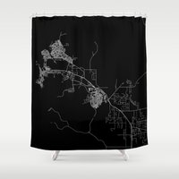 darwin Shower Curtains featuring Darwin map Australia by Line Line Lines