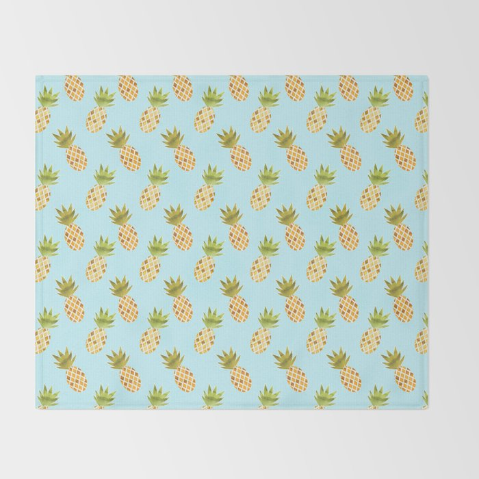 Blue Tropical Pineapple Pattern Throw Blanket