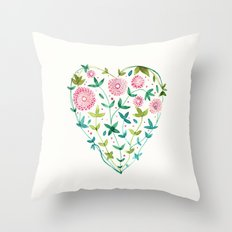 garden heart Throw Pillow