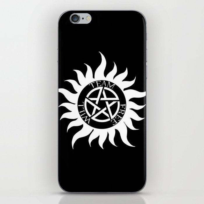 Team Free Will Anti-Possession Symbol - Supernatural (White) iPhone Skin by  starlyte