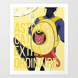 Astro Kitty Takes Orbit Art Print