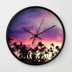 1980's sunset and quote Wall Clock