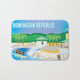 Dominican Republic - Skyline Illustration by Loose Petals Bath Mat