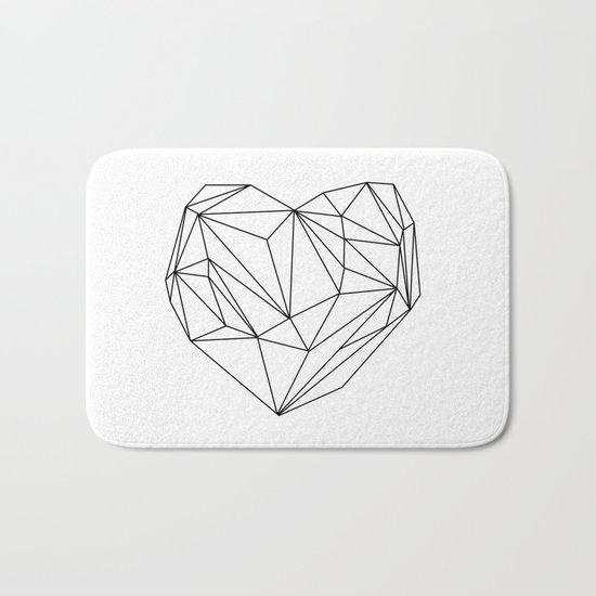 Heart Graphic (black on white) Bath Mat