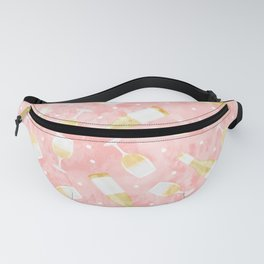 white wine - glasses and bottles - pink Fanny Pack