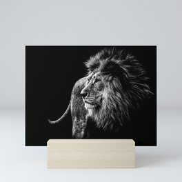 Lion Portrait in black and white Mini Art Print