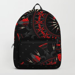 Buffalo Skull and Feathers (Red) Backpack