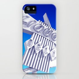 Liquor Deli Vintage Retro Neon Sign Blue iPhone Case