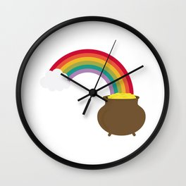 rainbow with gold Wall Clock