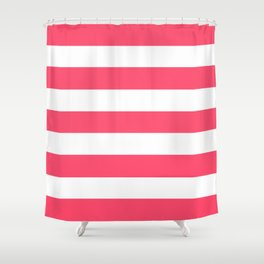 Infra red - solid color - white stripes pattern Shower Curtain