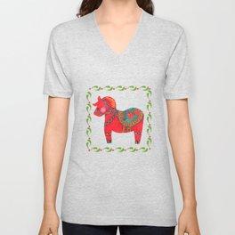 The Red Dala Horse Unisex V-Neck