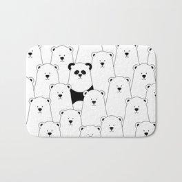 Polar bear and panda cartoon Bath Mat