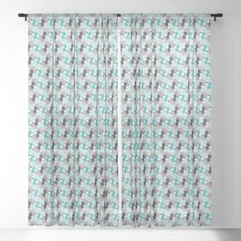 Teal/Gray Geometric Puppies Sheer Curtain