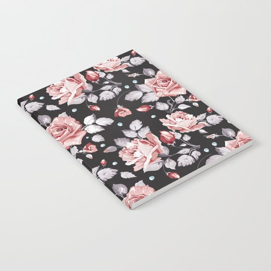 Vintage Pink Rose Flowers Notebook