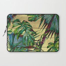 Tropical Palm Leaves on Wood Laptop Sleeve