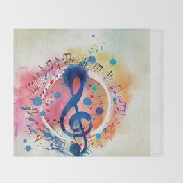 Fun Musical Notes and Treble Clef Paint Splatter Throw Blanket