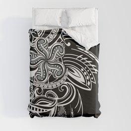 Black And White Hawaiian Tribal Duvet Cover
